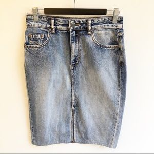 Decjuba 10 Knee Length Blue Denim Pencil Skirt